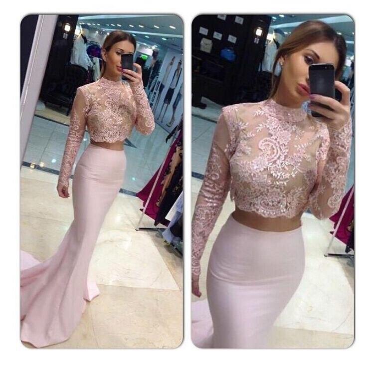 XPLE robe de soirée sirène à manches longues Pageant robe de bal rose dentelle deux pièces dentelle longues robes de soirée formelle robe de festa