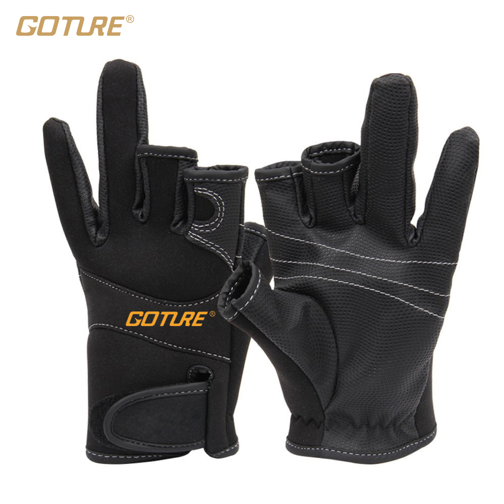 Fingerless gloves for sun protection - Goture 1pair High Quality Three Fingerless Anti Slip Fishing Gloves Anti Skin Lure Gloves