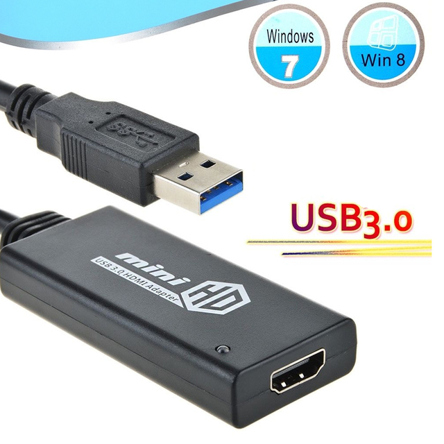 USB 3.0 To HDMI HD 1080P Video Cable Adapter Converter For PC Laptop Notebook HDTV TV