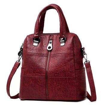 3-in-1 Women Leather Backpacks Vintage Female Shoulder Bag Sac a Dos Travel Ladies Bagpack Mochilas School Bags For Girls Preppy