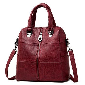 b4ee8265a6cd 3-в-1 Для женщин кожаные рюкзаки Винтаж женская сумка Sac Dos путешествия  дамы рюкзак школьные сумки для девочек элегантное