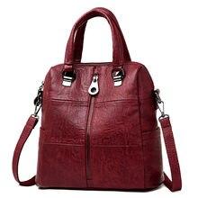 03666fe77ffb 3-в-1 Для женщин кожаные рюкзаки Винтаж женская сумка Sac Dos путешествия  женский