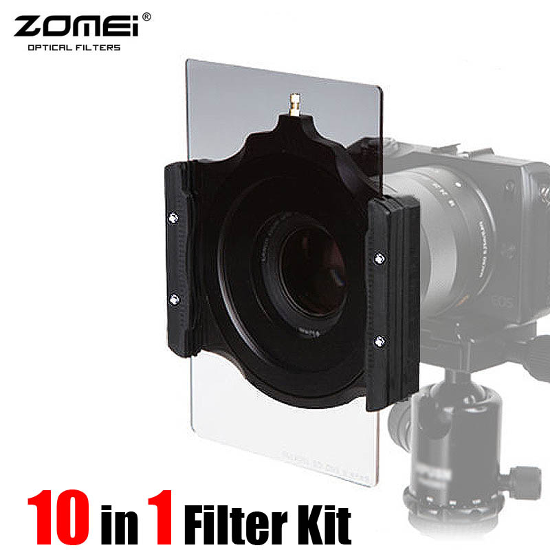 Professional ZOMEI Square 100 Gradual Blue Red ND4 ORANGE Full ND4 ND2 ND8 Filter Kit +77mm Ring+Slim CPL For COKIN Z LEE series square resin full color filter for dslr blue