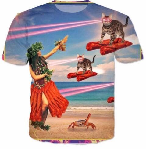 Harajuku Crewneck Women/Men Casual Laser Cat T-Shirt Fashion Clothing Casual HipSter Outfits