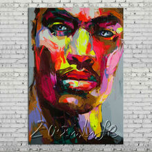 Palette knife portrait Face Oil painting Character figure canvas Hand painted Francoise Nielly wall Art picture 712