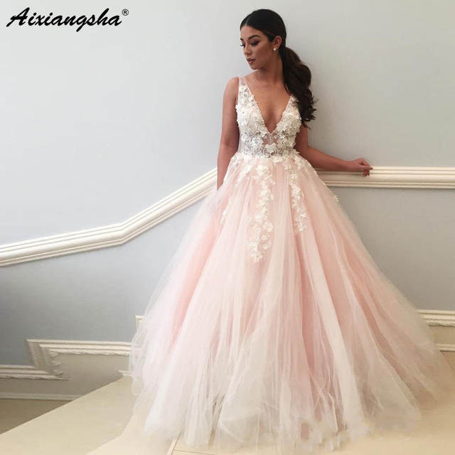 Romantic Fairy Princess Wedding Gown 2019 Beaded Flowers