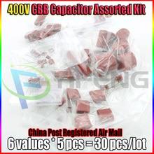 400V CBB Capacitor Assorted Kit,Sample bag,6ValuesX5PCS=30PCS,400V / 103J 473J 104J 334J 105J 155J,No Polarity AC Capacitor