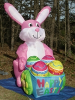 Giant 8ft animated inflatable easter bunny pushing egg cars for outdoor events decoration