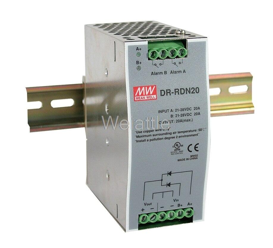 Moyen bien original DR-RDN20 30 V 20A meanwell DR-RDN20 30 V 20A Module de redondance d'alimentation