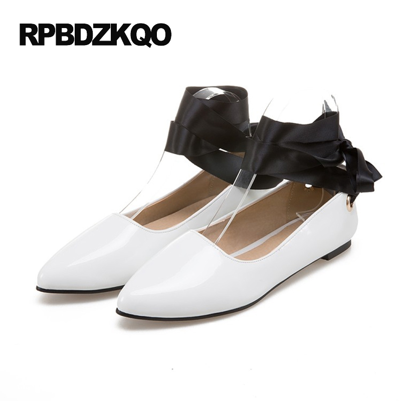 Custom Size 43 Cheap Large Ladies Beautiful Flats Shoes Chic Pointed Toe 2017 White 10 Patent Leather Fashion Women Lace Up Drop pointed toe 2017 large size rivet ladies latest metal flats ankle strap red wine star pearl women beautiful shoes drop shipping