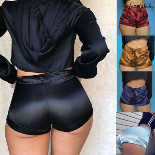 Sexy kobiet jedwabiu satyna spodenki kieszeń krótkie spodnie damskie letnie wysokiej talii Fitness gorące spodenki spodnie plażowe