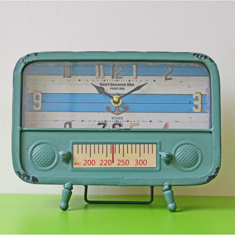 European Metal Clock retro nostalgic radio Iron Table saat Clocks thermometer Dispaly Ti ...