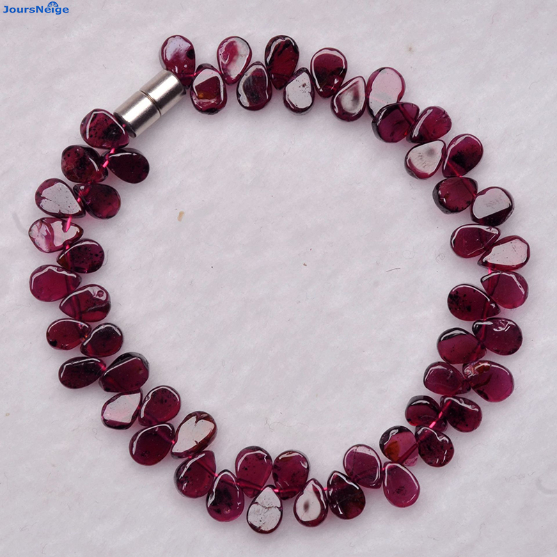 Wholesale Red Wine Natural Garnet Stone Bracelets Water Drop Beads Bracelet Lucky for Women Girl Gift Crystal Bracelet Jewelry 4 6mm natural garnet wrap bracelet silver red wine charms bracelet round beads bracelets for women