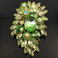 Vintga Women Alloy Gold Plated Green Crystal Large Brooch Rhinestone Bouquet Wedding Accessories Jewelry