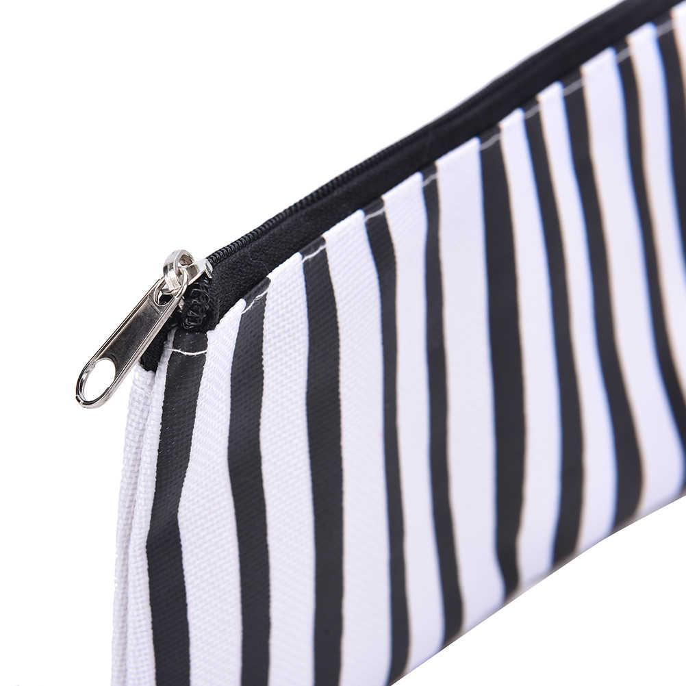 1 قطعة 4 أنماط 19*9.5 سنتيمتر عالية الجودة الأبيض والأسود متموجة المشارب قماش التجميل الحالات حقيبة للتخزين مراهق مقلمة