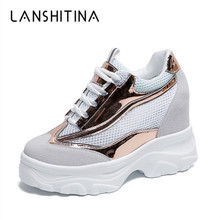 цена на 2019 Casual Shoes Women's Wedge Heels Shoes Mesh Breathable High Platform Shoes 9cm Summer Sneakers Zapatillas Deportivas Mujer