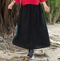 Winter Autumn Vintage Womens Casual Linen Black Skirts New Elastic Waist Embroidery Pleated Skirts Fashion Side Pattern Skirts