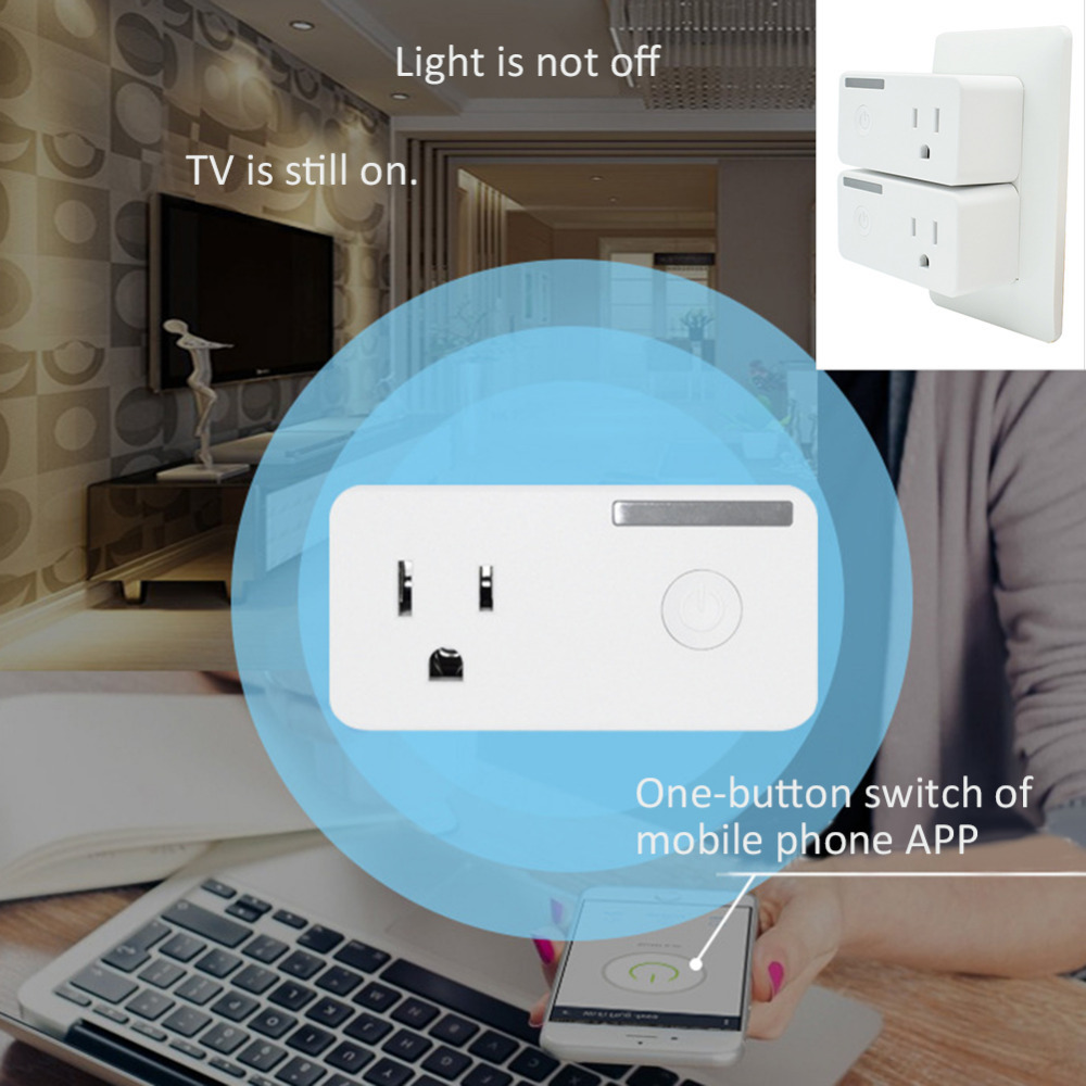 US $13 07 28% OFF|WiFi Smart Plug Wireless Home Furnishings Smart Audio  Control Timing Socket US Plug Wireless Outlet Voice control function  plug-in