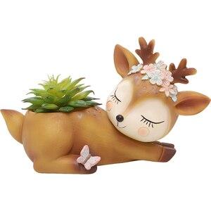 Image 4 - Roogo 植木鉢家の装飾アクセサリー置物多肉植物ポットバルコニー現代のマルチ鹿 annimal 樹脂工芸