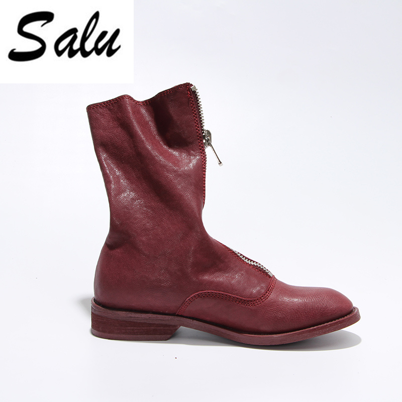 Salu Genuine Leather Boots Short Women Shoes Simple Style Ankle Boots With Handmade High Quality Shoes bacia genuine leather boots short plush women shoes black simple style ankle boots with zipper handmade high quality shoes vd021