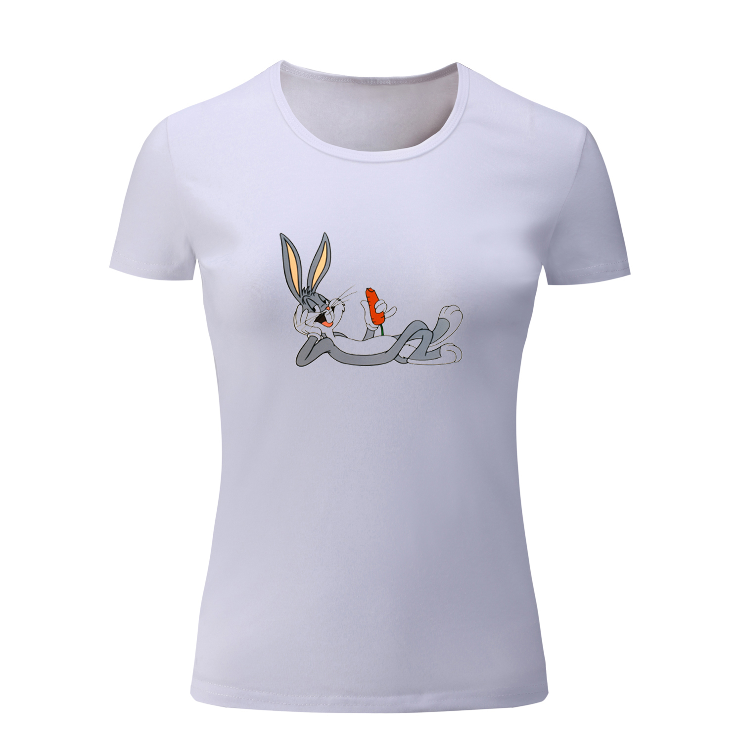 Summer Cute Bugs Bunny T Shirt Women Short T-Shirt for Girl Casual Cartoon Tshirt Birthday Gift Tee Holiday Tops Multi Colors