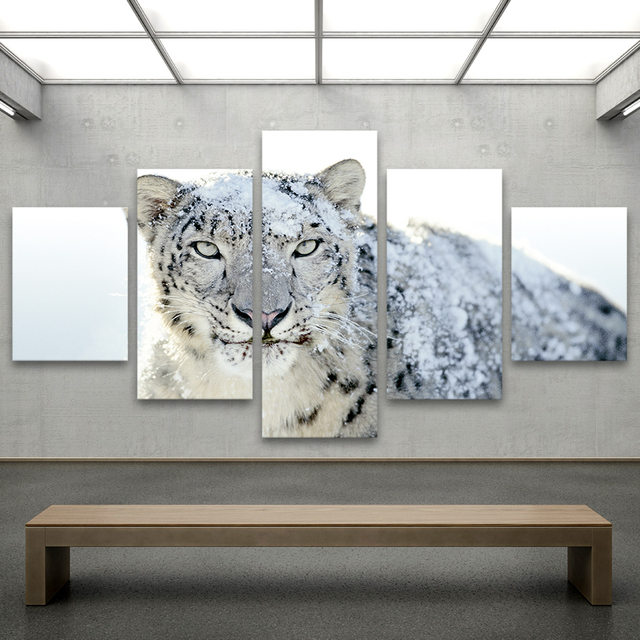 QKART 5 Panels Animal Painting The Snow Leopard Canvas Art Wall Pictures  For Living Room Home
