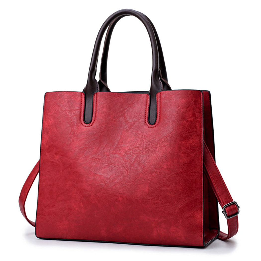 New Fashion Oil Wax Handbags Totes Simple Large Capacity Brand Baellerry Women Shoulder Bags Vintage Leather Shopper Bags miwind 2017 new women bag cow oil wax leather handbags letter v shoulder bags female luxury casual totes simple fashion portable