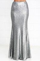 Long Bling Sequined Silver Skirt Fishtail Skirt Step Maxi Skirt