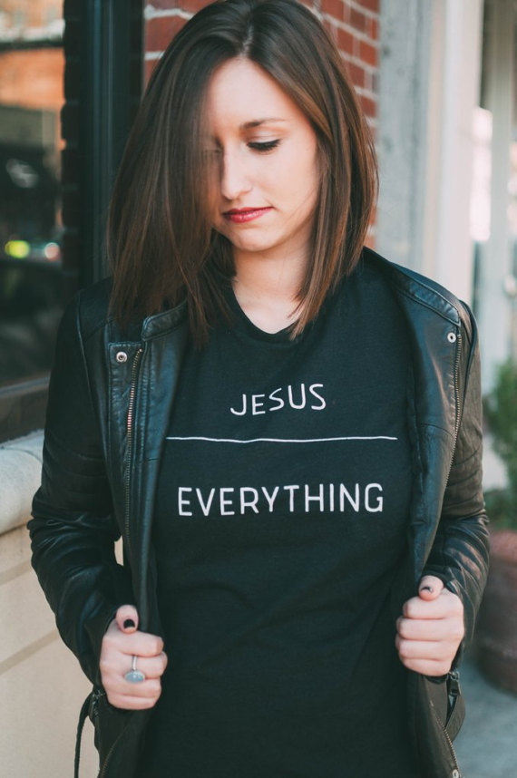 Women Funny Tumblr Graphic Tees Tshirts Summer Style Pink Grey White Black Tops JESUS OVER EVERYTHING Christian Ladies T-shirt