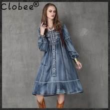 Clobee 2017 inverno originale lanterna del manicotto del ricamo vintage  dress donna denim partito maxi manica lunga inverno donn. c1d90274ace