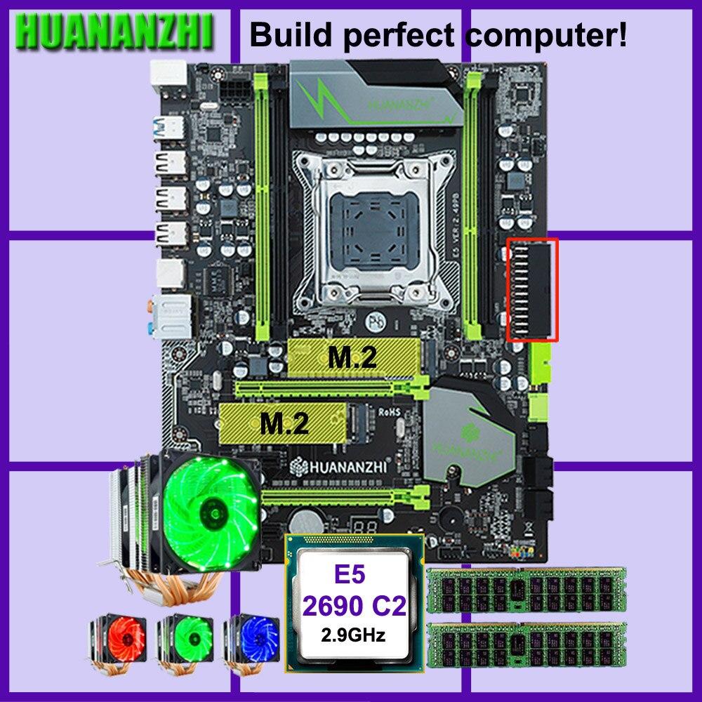 HUANANZHI X79 motherboard Pro com dual slot M.2 E5 desconto motherboard CPU Xeon 2690 2.9 GHz 6 tubos RAM cooler 32G (2*16G) RECC