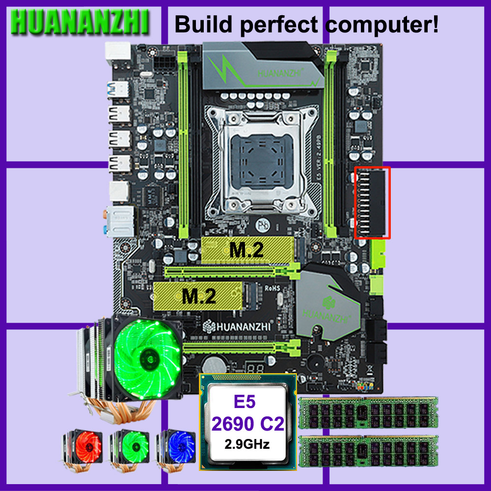 HUANANZHI X79 Pro motherboard with dual M.2 slot discount motherboard CPU Xeon E5 2690 2.9GHz 6 tubes cooler RAM 32G(2*16G) RECC