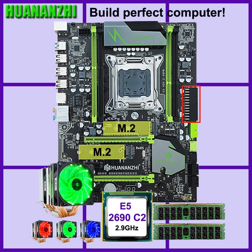 HUANANZHI X79 motherboard Pro com dual slot M.2 E5 desconto motherboard CPU Xeon 2690 2.9GHz 6 tubos RAM cooler 32G (2*16G) RECC