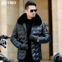 Batmo 2018 new arrival winter high quality PU 90% white duck down fox fur collars jackets men,men's brown leather coat 803