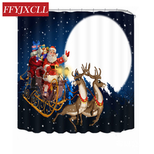купить Children Cartoon Santa Claus Polyester Fabric Waterproof Mildew Modern Christmas Gift Bathroom Shower Curtain With 12pc Hook онлайн