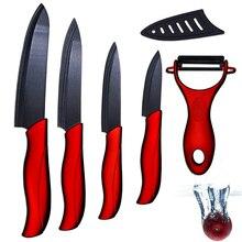 """Keramik messer 3 """"schäl 4"""" utility 5 """"schneiden 6"""" kochmesser und eine sharp schwarz balde + rot griff schäler küchenmesser set"""