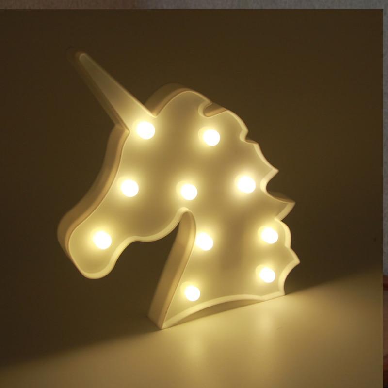 Lumiparty 3D Cute Small LED Night Light Bedroom Unicorn Cloud Moon Star Heart Home Decor Battery