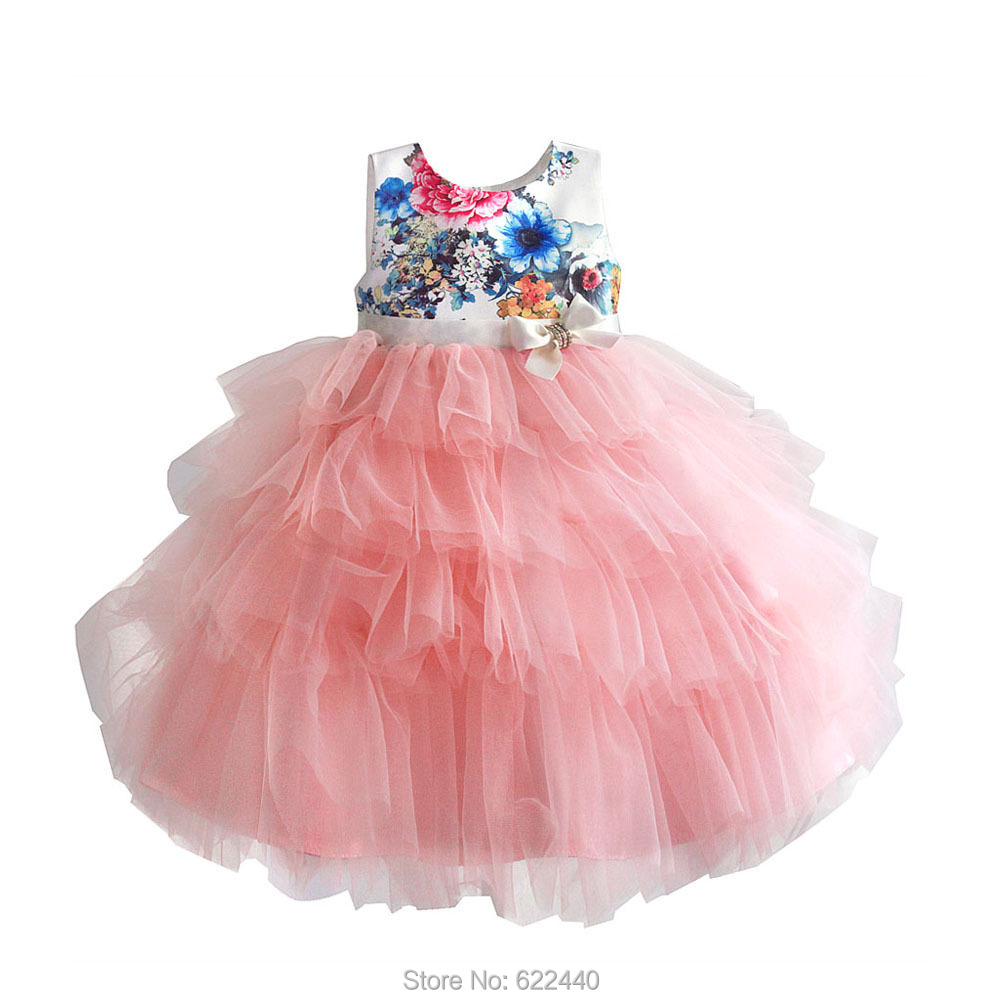 Floral Printed Puffy   Flower     Girls     Dresses   Lovely Little   Girls   Pageant Cupcake   Dress   Kids Special Occasion   Dress
