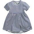 Atacado little maven 6 pcs new vestido da menina de verão de algodão puro tarja bonito vestidos de algodão roupas das meninas traje