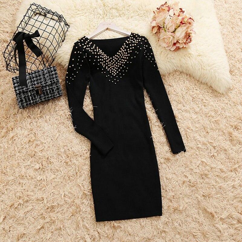 2018 autumn winter new female V neck beading slim knit dresses women's long sleeve elegant black sheath knitted dress