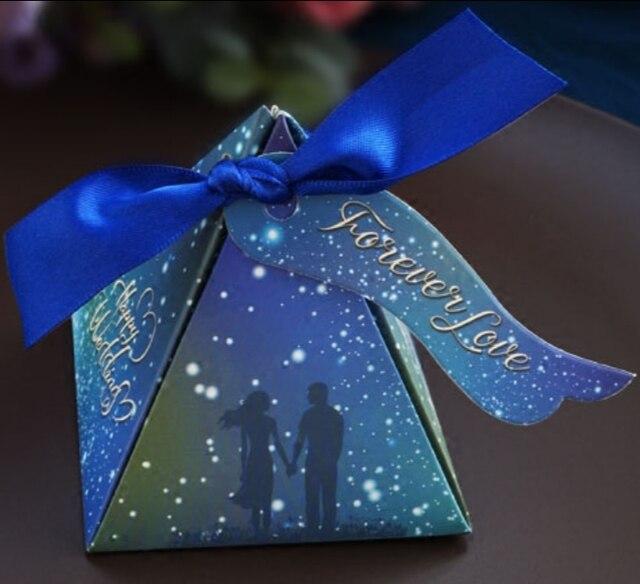 50 X Romantic Triangular Pyramid Blue Starry Sky Galaxy Wedding
