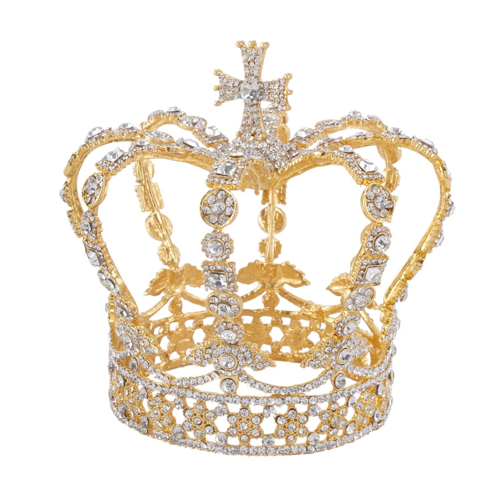Gold Alloy Male King Cross Crown baroque Bridal Wedding crown Royal prince Tiara Wedding crownGold Alloy Male King Cross Crown baroque Bridal Wedding crown Royal prince Tiara Wedding crown