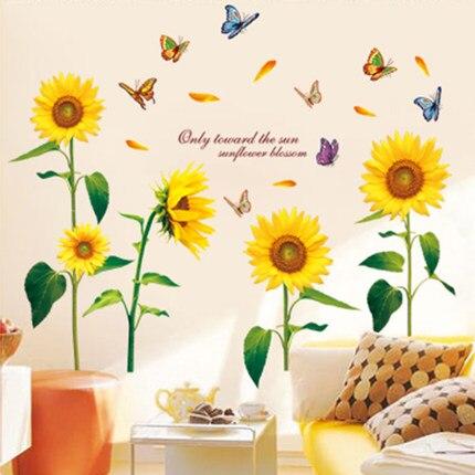 Kreative Wandaufkleber Schlafzimmer Wohnzimmer Wand Gemalt Kinderzimmer Dekor Aufkleber Sunflower RestaurantChina Mainland