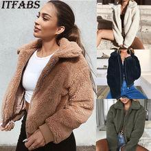 Новый Для женщин зимние теплые Повседневное меха с длинным рукавом Harajuku куртка Тедди пальто руно Zip толстовка верхняя одежда из искусственного меха модные