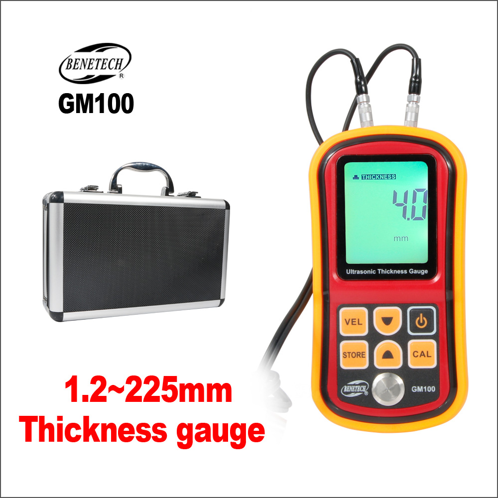 BENETECH Ultrasonic Thickness Gauge Digital Paint Coating Film Electronic 1.2 to 255MM GM100 Thickness Gauge Tester