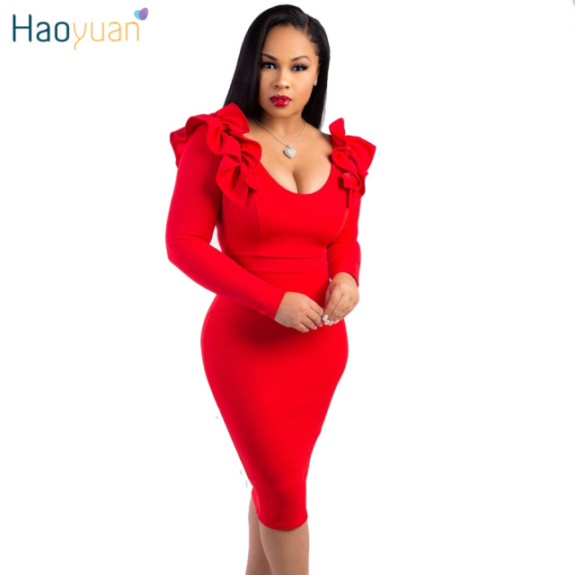 HAOYUAN Sexy Party Dress Women 2018 Autumn Ruffle Long Sleeve Back Zip Elegant Bodycon Dress Black White Blue Red Pencil Dresses