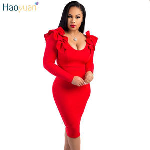 HAOYUAN Sexy Party Dress Women 2018 Autumn Long Sleeve c389c168b