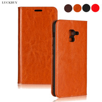 LUCKBUY Top Quality Classic Business Crazy Horse Pattern Genuine Leather Flip Cover For Samsung Galaxy A8