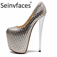 Ever after high womens sexy pole dance silver closed round toe platform on the heels 20 cm extreme high heel woman pumps shoes 4