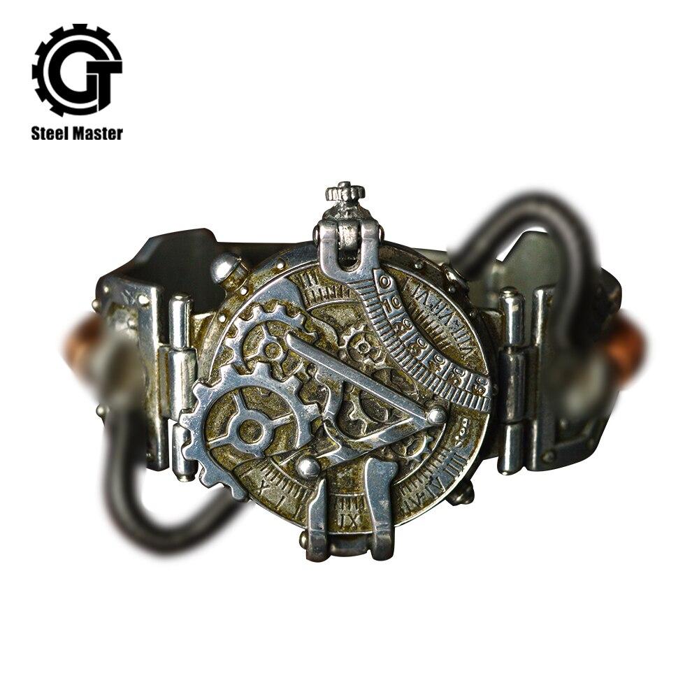 Популярные винтажные часы в стиле рок, готические Ретро часы, армейские механические наручные часы унисекс из нержавеющей стали в стиле стимпанк для мужчин и женщин|Механические часы|   | АлиЭкспресс